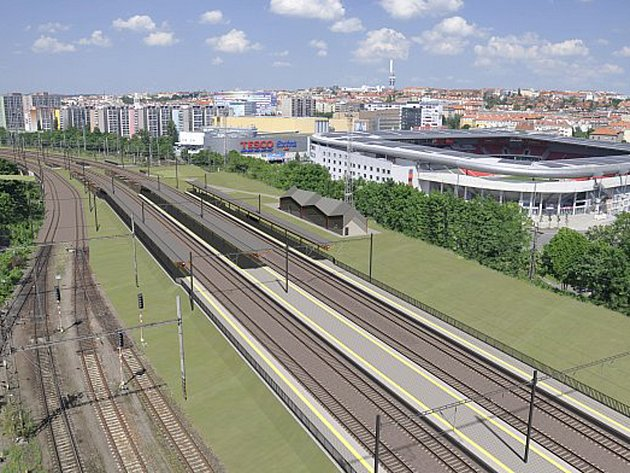 V budoucí zastávce Eden postaví čtyři traťové koleje a plocha vpravo, po níž vede současná trať, zůstane vyhrazená pro budoucí vysokorychlostní trať Praha - Brno.