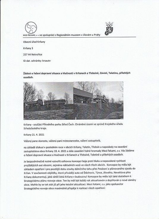 Žádost o řešení dopravní situace a hlučnosti v Krňanech a Třebsíně, Závisti, teletinu a přilehlých osadách - strana 1.
