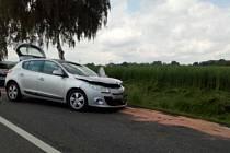 Nehoda u Olbramovic znamenala v neděli 6. června 2021 kolony, které před polednem ve směru na Prahu sahaly až do kopce u Votic.