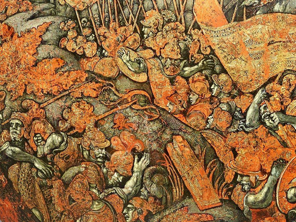Detail vzácného renesanční štítu ukradeného nacisty v roce 1943 ze státního zámku Konopiště.