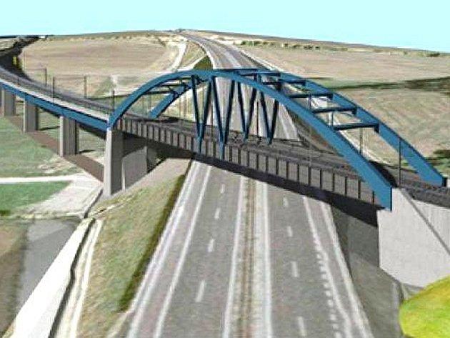 Vizualizace estakády a mostu přes dálnici D3.