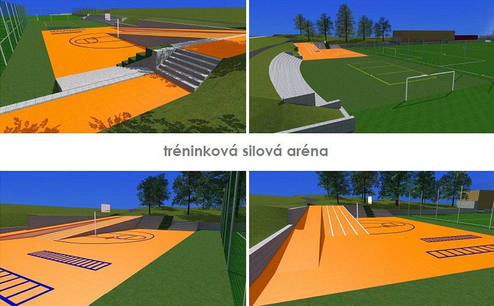 Vizualizace proměn fotbalového stadionu v Benešově.