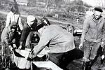 Výlov rybníka v Chlebech byla samozřejmě především práce.