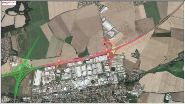 Dálnice D10 se má uPrahy rozšířit. Plánek KÚ Středočeského kraje