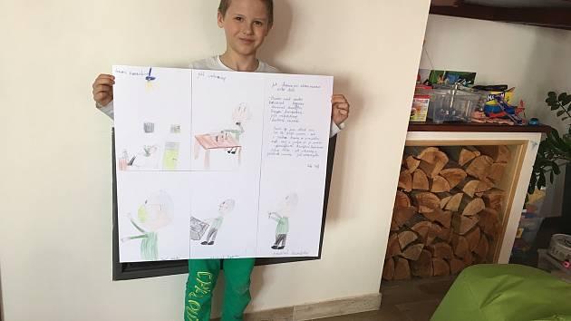 Děti ze Základní školy Vrchotovy Janovice dostaly za úkol tvořit na aktuální téma ochrany zdraví před koronavirem.