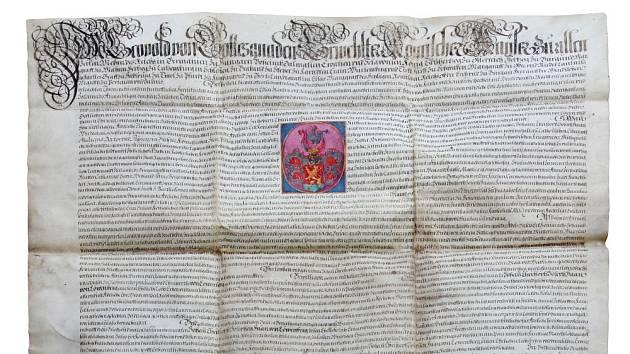 Erbovní listina, jíž byl dne 19. června 1694 Johann Christoph Haan povýšen císařem Leopoldem do šlechtického stavu. Zároveň mu byl udělen predikát von Löwenberg.