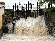 Splavský rybník v Bystřice 3. června 2013. Velká voda tehdy způsobila škodu lidem v Jírovicích, Jarkovicích, na Racku a také v Poříčí nad Sázavou.