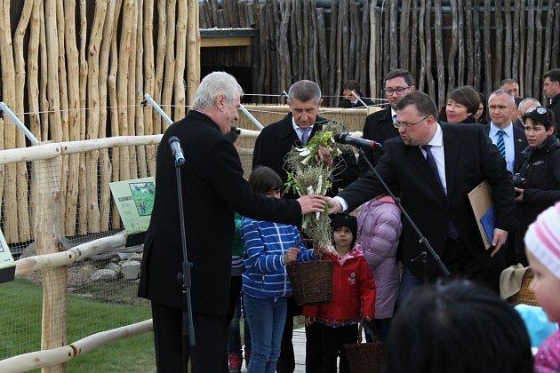 Prezident Miloš Zeman na návštěvě u Andreje Babiše v Čapím hnízdě.