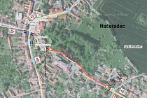 Uzavřená Lhotecká ulice v Načeradci.