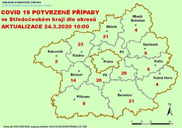 COVID 19potvrzené případy ve Středočeském kraji ke 24.březnu 2020v10 hodin.