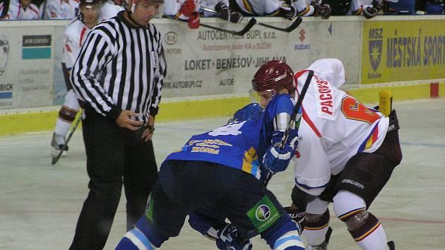 Přípravný hokejový zápas Sparta Praha - Barys Astana 0:5 v Benešově.