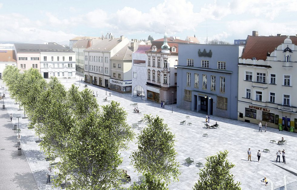 Architektonická soutěž na změnu podoby Masarykova náměstí. Tento návrh získal odměnu poroty.