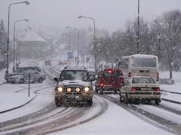 Ranní sněžení v Benešově