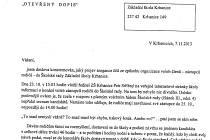 Část dopisu, v kterém se uvádí, že se ve škole krade a bují tam šikana.