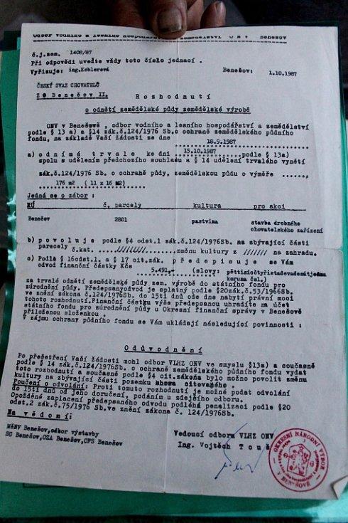 Dokumenty benešovských chovatelů.