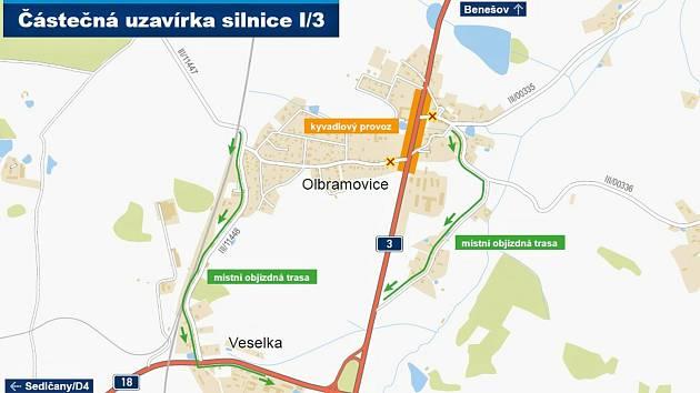 Částečná uzavírka silnice I/3.