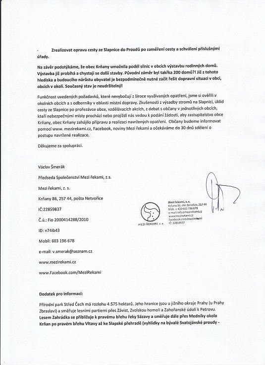 Žádost o řešení dopravní situace a hlučnosti v Krňanech a Třebsíně, Závisti, teletinu a přilehlých osadách - strana 3.