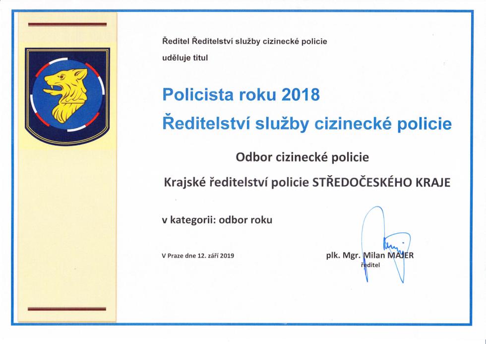 Středočeský cizinecký odbor byl oceněn jako nejlepší v republice.