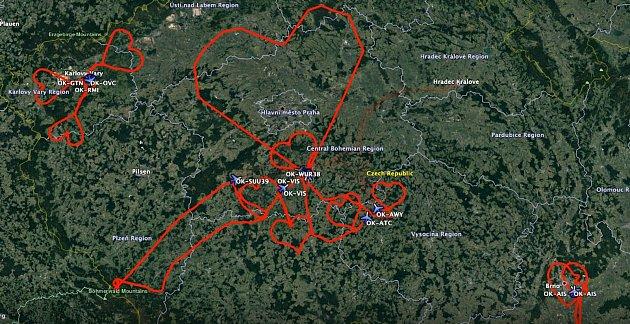 Trasa, kterou piloti F air letěli vneděli 14.února na svátek sv. Valentýna.