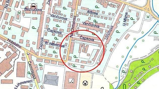 Pro místo označené kroužkem platí stavební uzávěra