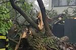 Silný vítr a přívalový déšť zaměstnaly středočeské hasiče