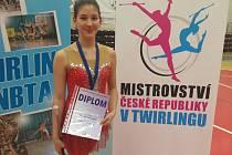 Zlato v národním šampionátu v twirlingu vyhrála Kateřina Birošová.