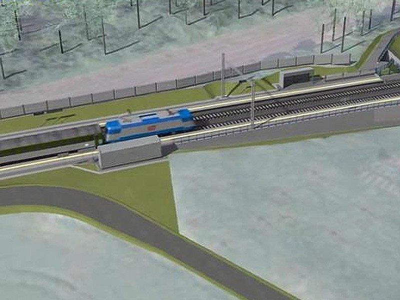 Vizualizace budoucího koridoru mezi Heřmaničkami a Meznem - zastávka Heřmaničky.