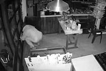 Snímek z bezpečnostní kamery, která zachytila vloupání do konopišťského bistra.