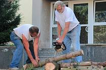 Dřevorubci v Benešově.