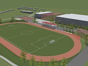 Vizualizace atletického stadionu v areálu Sladovka.