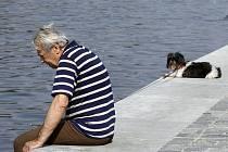 Senior a pes na procházce.