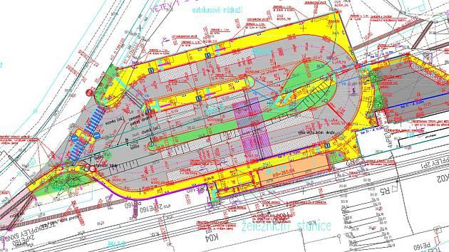 Vyznačení místní úpravy provozu kolem týneckého terminálu.