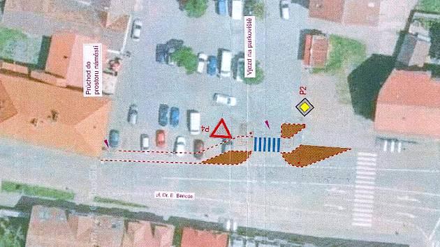 Situační plánek změn dopravy v Bystřici.