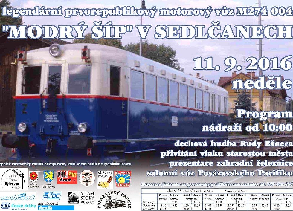Slovenský Modrý šíp a Hektor Posázavského pacifiku vyrazí na Sedlčanku v neděli 11. září.
