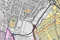 Výřez územního plánu Benešova.