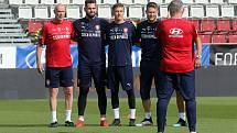 Trénink národní fotbalové reprezentace v Olomouci.Tomáš Koubek, Jakub Markovič, Tomáš Vaclík