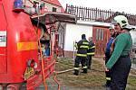 Požár kotelny rodinného domu v Peceradech.