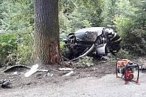 Dopravní nehoda osobního automobilu mezi obcemi Pozov a Hliňánky 6. září 2019.