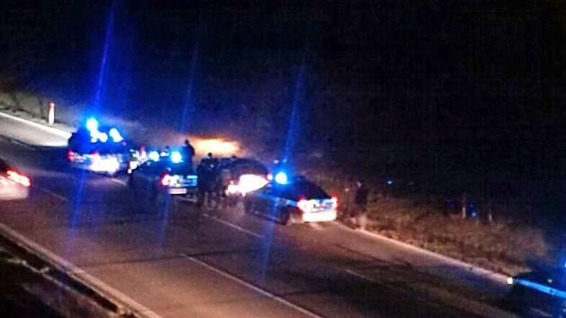 Záběr z dálniční kamery u Psářů.