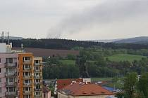 Požár domu v Českém Šternberku při pohledu z Vlašimi.