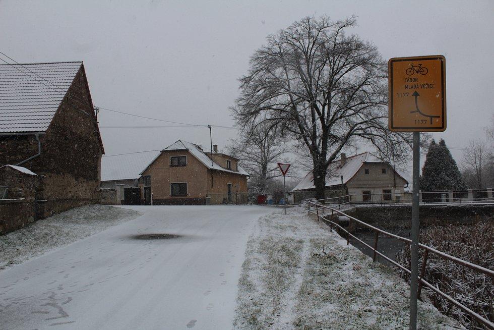 Pivovarský rybník v Louňovicích pod Blaníkem v lednu 2021.