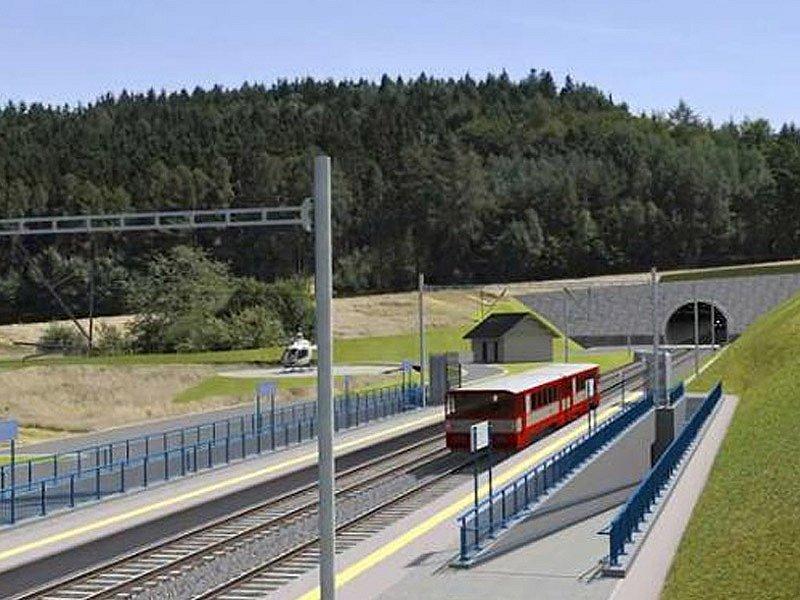 Vizualizace budoucího koridoru mezi Heřmaničkami a Meznem - zastávka Ješetice.