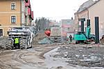 Z výstavby parkovacího domu v Nádražní ulici v Benešově.