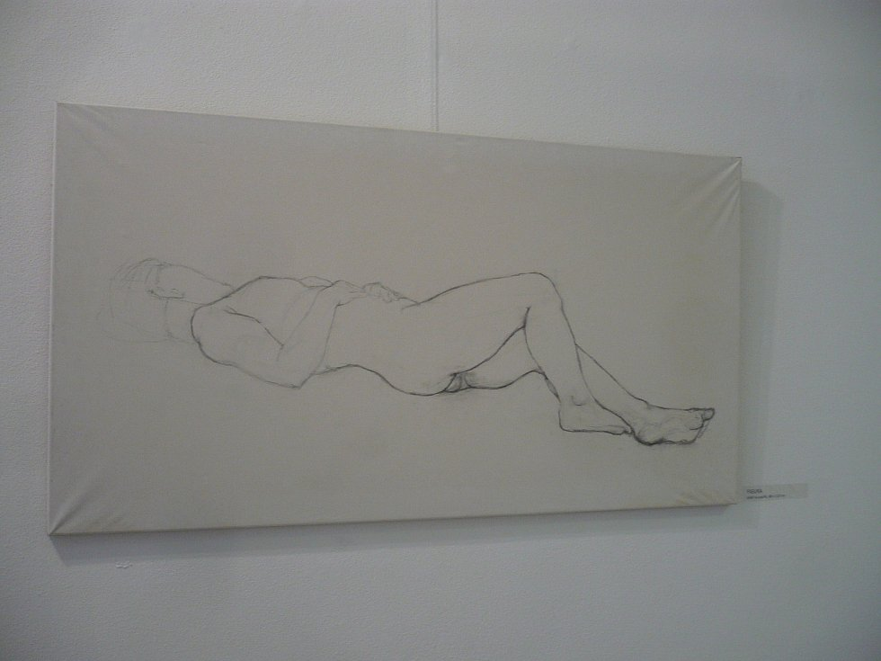 Marek Králík vystavuje v Městské výstavní síni v Benešově nejen obrazy, ale také tři stránky zápisků a náčrtů týkající se tvorby obrazů.