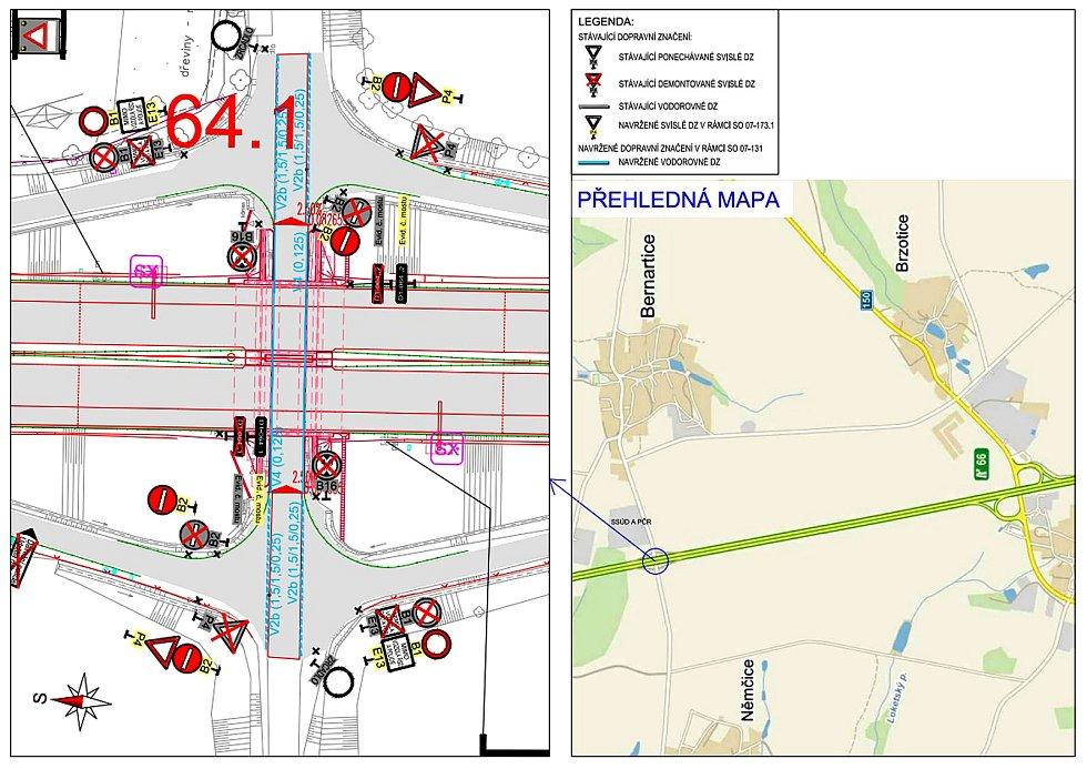 Situační plánek úpravy značení podjezdu pod dálnicí D1 mezi Bernarticemi a Němčicemi.