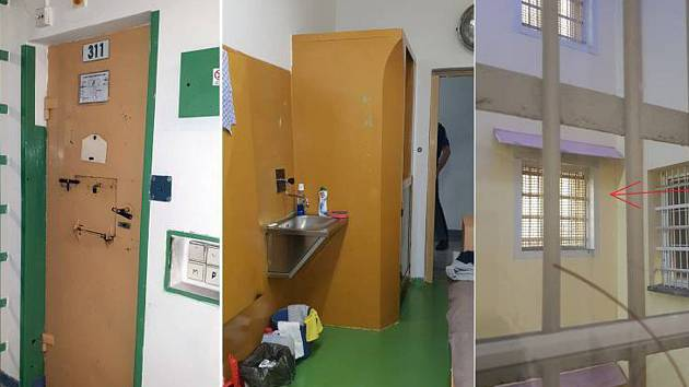 Cela Davida Ratha. Na kombinovaném snímku jsou zleva dveře Rathovy cely, její interiér a okno cely.