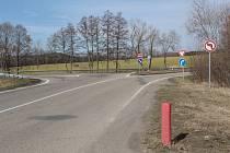 Příjezd na silnici I/3 od Bystřice a Líšna.