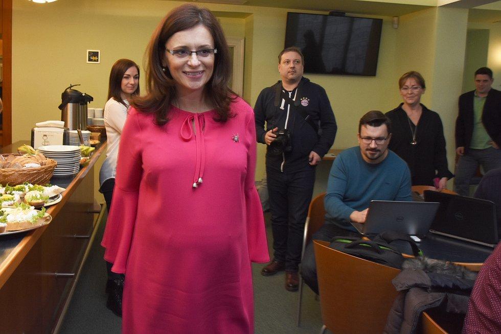 Hejtmanka Středočeského kraje Jaroslava Pokorná Jermanová (ANO) v pondělí 14. ledna 2019 po jednání krajských radních vystoupila na tiskové konferenci.