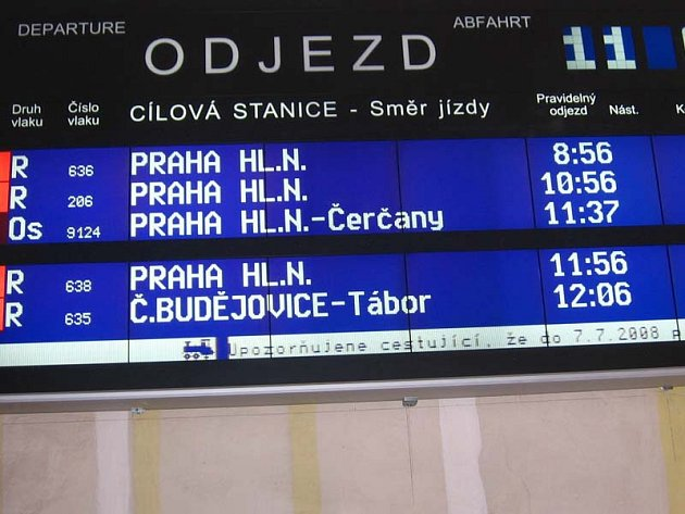 Drobná změna odjezdů ve změněném jízdním řádu se od pondělí 13. dubna týká pouze dvou osobních vlaků v úseku Střezimíř - Tábor.