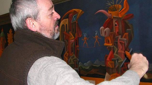 Příprava výstavy výtvarníka Michala Tomka - Obrazy z posledních let.